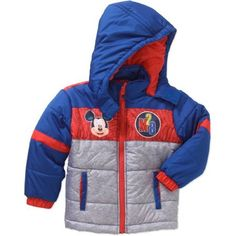 Mickey Mouse Toddler Boy Hooded Puffer Jacket, Grey/Blue/Red, 2T