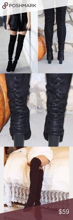 Black Over The Knee Lace Up Thigh High Suede Boots ‼️WORN ONCE BUT IN GREAT CONDITION SHOE BOX INCLUDED‼️⛄️All vegan materials ⛄️ 3.25 inch heel ⛄️ Boot is 23 inches tall/26.25 inches tall including the heel ⛄️ 🔴Limited Quantities 🔴 Feel free to ask questions!🔴Shoe runs at least a half size too big. Would fit someone who is a size 9🔴 Shoes Over the Knee Boots