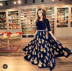 Navy blue & gold velvet bridal lengha. #dream
