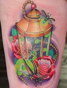 no artist info, which is a bummer because this tattoo is beautiful- except for the top of the lantern which looks a little off. Future Tattoos, Love Tattoos, New Tattoos, Green Lantern Tattoo, Jordan Tattoo, Bug Tattoo, Ink Art, Tattoo Inspiration, Lanterns