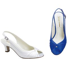 Dyeable, I would find rhinestone shoe clip for each shoe and in color of the dress..