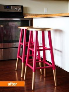 6 DIY projects for gold home decor Go glam! 6 DIY projects for gold home decor: Gold-dipped bar stoolsGo glam! 6 DIY projects for gold home decor: Gold-dipped bar stools Diy Furniture Projects, Diy Home Decor Projects, Furniture Makeover, Decor Ideas, Decorating Ideas, Diy Ideas, Decor Diy, Furniture Refinishing, Craft Projects