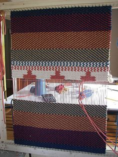 Elegant Shantelie _ Medieval Icord Twined Rug, On Personal Homemade Frame Loom