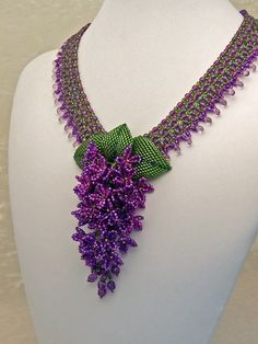 Haute ice beadwork Lilac necklace