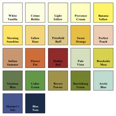 Griffin & Wong Color Chart for Wallpaper Backgrounds