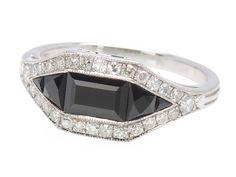 Opposite Play - Onyx Diamond Ring - The Three Graces