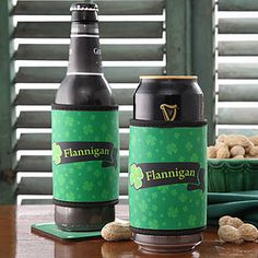 LOVE THESE!!! What a great idea for St. Patrick's Day!! They're Personalized Irish Pride Can and Bottle Cooler wraps! You can personalize them with any name ...these will be awesome to have at the parade! #Irish #StPatricksDay #Shamrock #Beer #Guiness