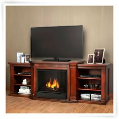 Real Flame Valmont Entertainment Center Ventless Gel Fireplace - Dark Mahogany