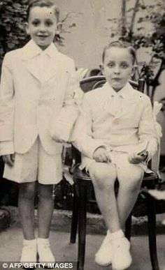 Pope Francis (left) on his First Holy Communion day.