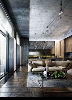 Industrial Interior Design, Vintage Industrial Furniture, Industrial Living, Decor Interior Design, Interior Design Living Room, Living Room Designs, Industrial Style, Industrial Decorating, Living Rooms