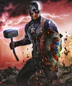 The scene in the film where Captain America raised the hammer of Thor and there were lightning around him was incredible, one of the best… Marvel Captain America, Marvel Vs, Marvel Heroes, Superman News, Batman And Superman, Marvel Jokes, Avengers Comics, Captain America Wallpaper, Comic Pictures
