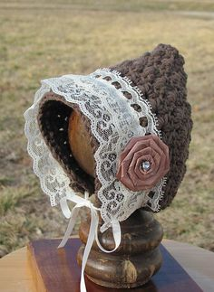 Ravelry: Star Stitch Pixie Bonnet pattern by Crochet by Jennifer - absolutely love the added lace and ribbon flower! Great idea!