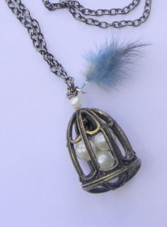 Bird cage necklace Large boho necklace Three eggs by BBBsDesigns, $16.00