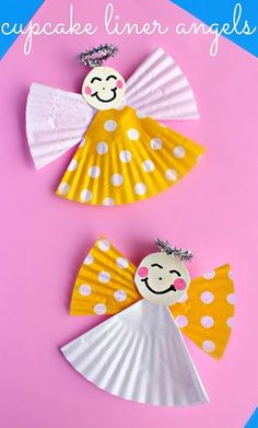 Cupcake Liner Angel Craft for Kids #CupcakeLiner #AngelCraft #ChildrensChurch #ChurchCraft #SundaySchool