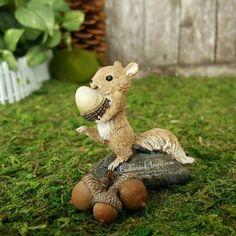 Miniature Squirrel with Acorn - Fairy Garden Accessories Mini Garden Supplies Terrarium Accent Chipmunk Statue Figurine Enchanted Acorn Nut Outdoor Plants, Outdoor Decor, Cute Squirrel, Fairy Garden Accessories, Chipmunks, Garden Supplies, Acorn, Garden Design, Miniatures