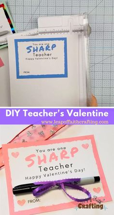Give your teacher a little Valentine's gift with two different colored Valentines printables, one blue and one pink.  Cute and easy teacher gift idea for Valentine's Day.  #valentines #teacher #giftideas