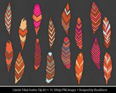 Tribal Feather Clip Art colorful feathers clipart by VizualStorm