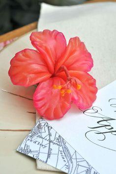 Red Hibiscus Wedding Favor. $20.00, via Etsy.