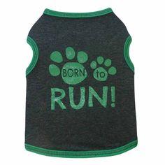Born to Run Dog Tank - Charcoal and Green