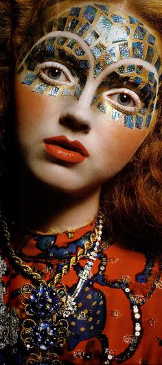 Lily Cole. Mosaic make-up in blue and gold.  Editorial.