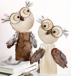 Wooden owls :-) Gloucestershire Resource C. - Fall Crafts For Kids Wooden Projects, Wooden Crafts, Craft Projects, Wooden Diy, Crafts To Make, Crafts For Kids, Arts And Crafts, Owl Crafts, Decor Crafts