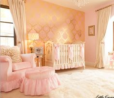 They chose an Angel Song Aspen Pink Empire Glider Set as the ultra-comfy centerpiece of the room. We also made custom ivory silk and pink satin crib bedding to coordinate with the elegant nursery.