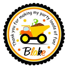 Dump Truck Stickers, Construction Birthday Party,  Personalized Labels, Gift Tags - set of 12
