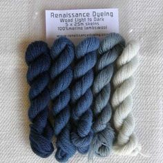 Woad dyed crewel wool - Light to Dark – Renaissance Dyeing
