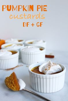 Pumpkin Pie Custards (DF + GF)! All the goodness of pumpkin pie but without the hassle of the crust! Perfectly sized and perfect for Fall! #dairyfree #glutenfree #recipe | peachandthecobbler.com