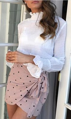 #fall #outfits  White Blouse + Blush Dotted Wrap Skirt