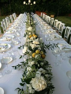 fiori e limoni Wedding Themes, Wedding Decorations, Table Decorations, Yellow Wedding, Dream Wedding, Sicily Wedding, White Flowers, Tablescapes, Floral Arrangements