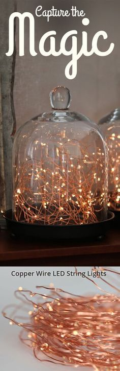 Capture the magic of twinkling fairies or fireflies, with LED copper wire lights. Drape them across window sills, or highlight a Valentine's Day tabletop; wrap tree branches for a unique floral arrangement, or pile them into hurricane vases or bell jars and enjoy the magical glow. Set of 300 LED Warm White Copper Wire String Lights by Lights.com
