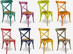 """Stof Lar Decorações - Móveis em Madeira de Demolição : Cadeiras modelo """" Paris Colorida"""""""