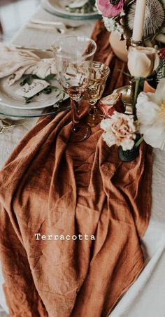 Terracotta Table Runner, Cheesecloth Table Runner, Copper ...