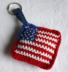1500 Free Amigurumi Patterns: Stars and Stripes: free flag keyring crochet pattern for the 4th of july