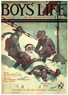 Google Image Result for http://www.best-norman-rockwell-art.com/images/1913-12-Boys-Life-Norman-Rockwell-cover-Santa-and-Scouts-in-Snow-400.jpg