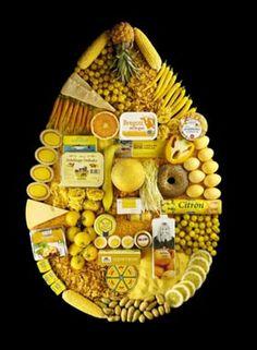 Frutas, verduras y otros alimentos de color amarillo.