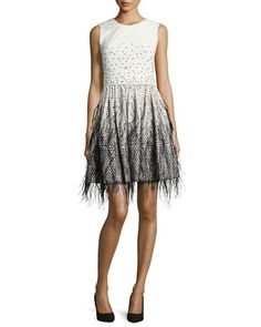 Sleeveless Feather-Embroidered Ombre Dress, Ivory/Black by Lela Rose at Neiman Marcus.