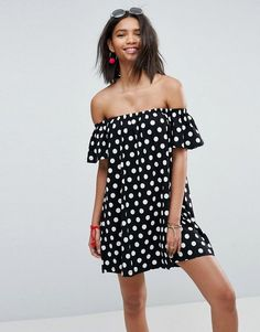 Off Shoulder Dress in Polka Dot