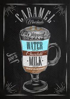 Poster coffee caramel macchiato in vintage style drawing with chalk on the blackboard Coffee Menu, Coffee Latte, Coffee Drinks, Starbucks Coffee, Iced Coffee, Coffee Shop, Coffee Dessert, Coffee Girl, Coffee Scrub