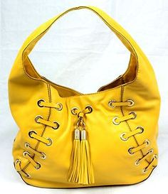 Michael Kors Large Yellow Leather Hobo Purse Bag Tassel Stitch Detail EUC | eBay