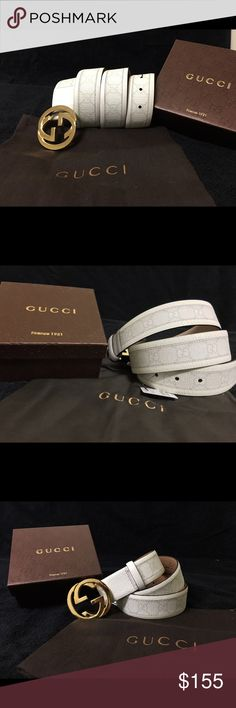 Gucci Men Belt White Monogram Gold Buckle ALL SIZE Authentic Men's Gucci White Monogram Mens Belt NWT • Sizes should be for all! Dont see your size just ask! • 100% Authentic • Free PRIORITY 1-3 Day shipping • 1 Day handling Gucci Accessories Belts