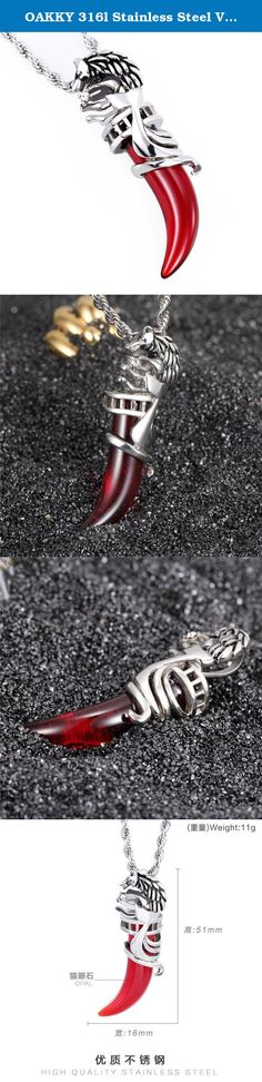 OAKKY 316l Stainless Steel Vintage Multi-color Agate Wolf Tooth Pendant Necklace Red (With Chain). Why choose 316l stainless steel jewelry? Firstly, 316l stainless steel jewelry does not tarnish and oxidize, which can last longer than other jewelries. Secondly,it is able to endure a lot of wear and tear. Thirdly, it is amazingly hypoallergenic. Such advantages make 316l stainless steel jewelry more popular nowadays. Product Features: Pendant Size: 16 x 51 mm Weight: 11g High-quality...