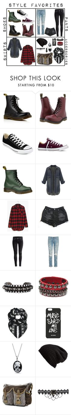 """Style Favorites"" by amandamaier ❤ liked on Polyvore featuring Dr. Martens, Converse, Madewell, H&M, rag & bone, DANNIJO, Alexander McQueen, Bling Jewelry, Free People and women's clothing"