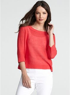 """This color, """"strawberry"""" is spot on for LSu's! Bateau Neck Box-Top in Fine Gauge Linen"""