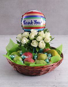 Thank You Rose and Fruit Basket Pink Happy Birthday, Happy Birthday Candles, Happy Birthday Balloons, 21 Balloons, Star Candle, Fruit Gifts, Lucky To Have You, Fruit Arrangements, Turkish Delight