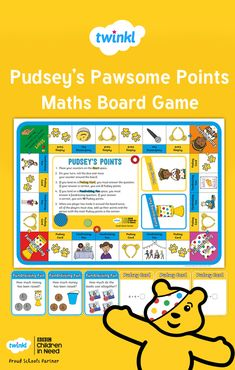 Engage children with this fundraising-themed board game which practises addition and subtraction skills and encourages pupils to apply their skills to solve a range of problems. The perfect activity for BBC Children in Need week. Math Board Games, Math Boards, Teaching Math, Maths, After School Club, Children In Need, Addition And Subtraction, Fun Learning, Fundraising