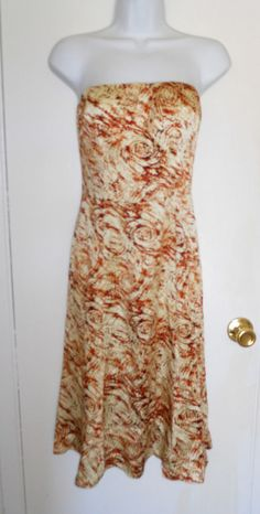 Spooner Prague Strapless Silk Impressionist Swirl Dress sz 4 EUC #SpoonerPrague