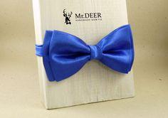 Blue Cobalt Satin Bow Tie - Ready Tied Bow Tie - Adult Bow Tie - Mens bowtie - Groomsman, Wedding Bow Tie - Gift for Him - Mr.DEER by MrDEERbowtie on Etsy