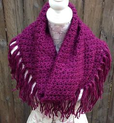 Burgundy Fringed Infinity Hooded Scarf, Modern Hand Knit Circle Scarf, Large Infinity Scarf, Hooded Cowl, Winter Hooded Scarf, Blanket Scarf by ChicSacs on Etsy